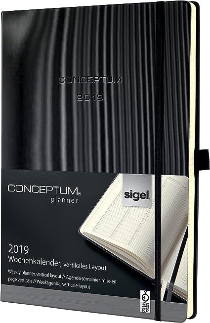 Sigel Terminkalender 2020 Conceptum C2004 Hardcover A4 Kalender schwarz Planer