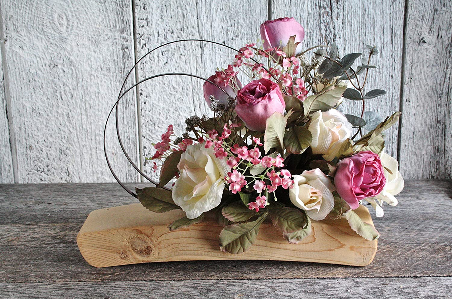 Handmade Rustic Wooden Centerpiece Garnished With Flowers Country Wedding Table Decor Reception Decor Silk Flower Home Decor Rustic Centerpiece Amazon Ca Handmade