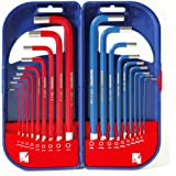 WORKPRO Hex Key Set Metric Imperial Combined Hexagon Key Set (18 Pieces), Allen Wrench Long Arm with Carry Case, 1.5-10 mm and 1/16-3/8 inch