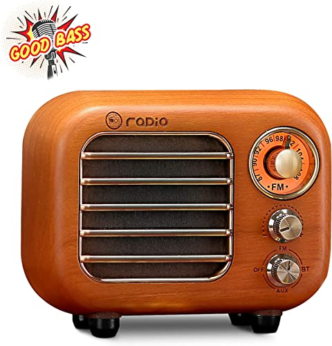 Retro Radio Vintage Bluetooth Speaker-Greadio Cherry Wooden FM Radio with Bluetooth 4.2 Connection, Old Fashioned Classic Style, Loud Volume, Good Bass Sound, TF Card AUX in for Home, Office, Kitchen