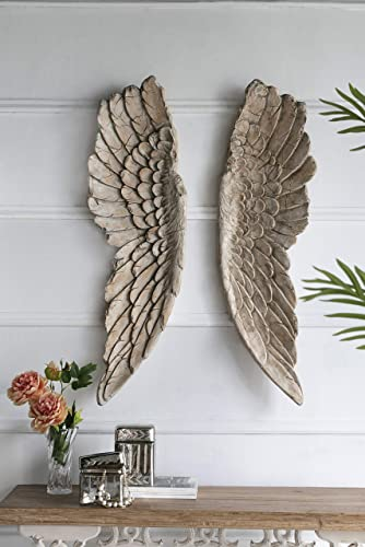 Large Angel Wings Decor Distressed Antique Finish Realistic Wood Texture Hanging Wall Art Sculpture Easy Installation Life Sized 2 Piece Set 12″ x 41″