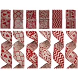 "SANNO Wired Burlap Decorations Ribbon 12 Rolls Assorted Rustic Patterns Classic Fabric Ribbons Crafters Ornaments 36 Yards (2.5""Width x 3Yard Each) - Red"