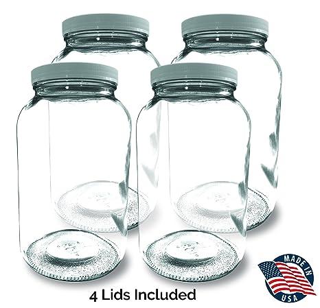 Delightful 1 GALLON Glass Jar Wide Mouth (4 PACK) U2013 MADE IN USA U2013