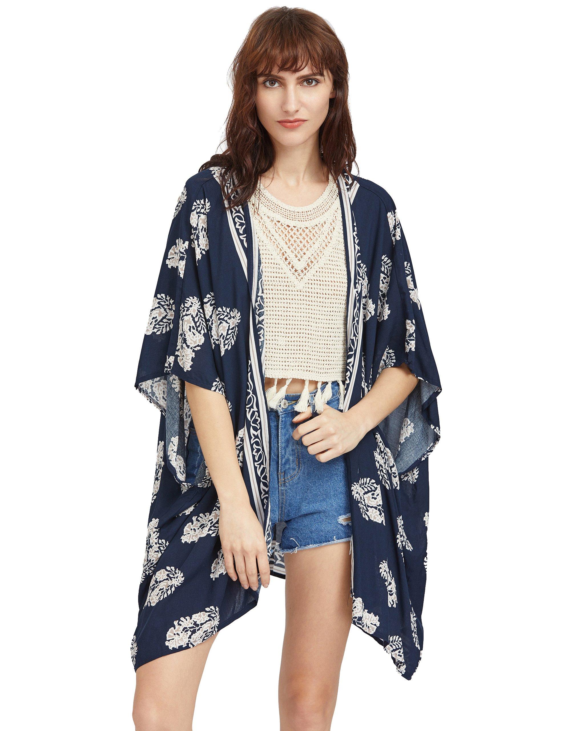 SweatyRocks Women's Boho Kimono Vintage Floral Beach Cover Up Swimwear Navy #2 L