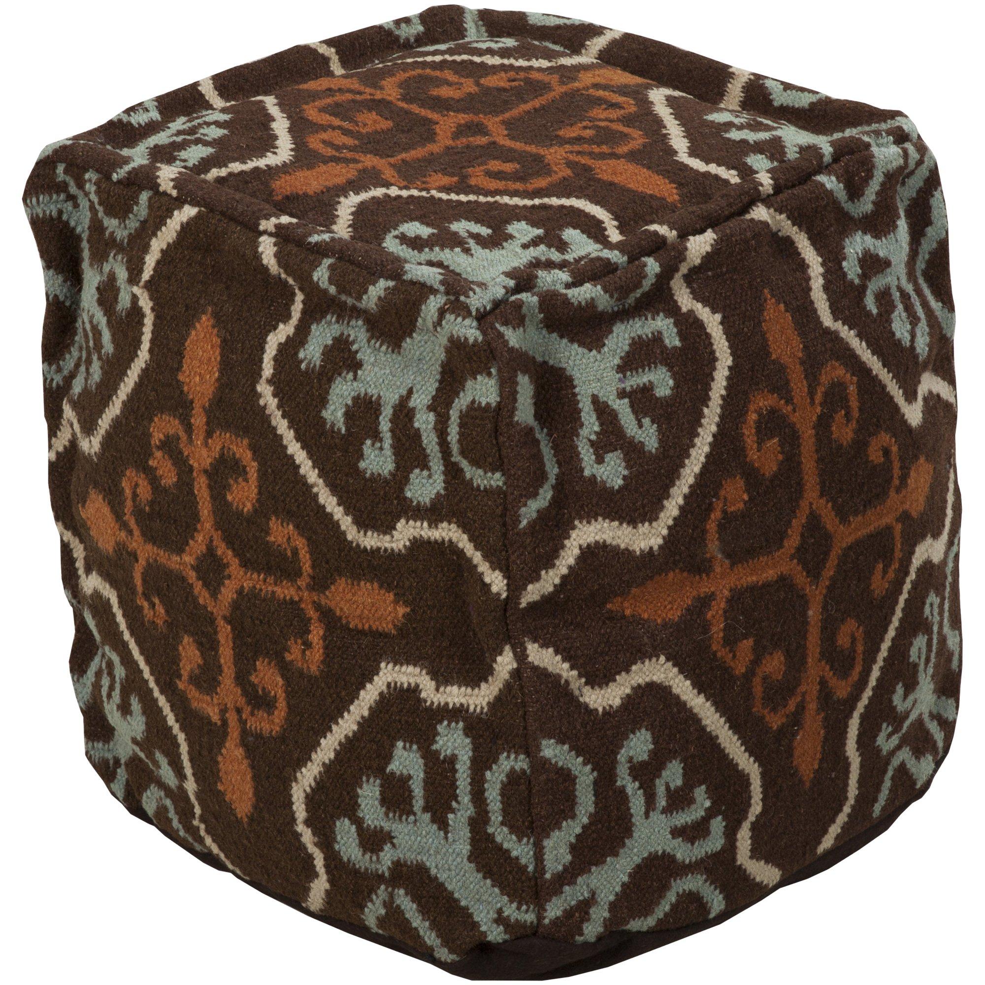 Surya POUF-18 Hand Made 100% Wool Burgundy 18'' x 18'' x 18'' Pouf