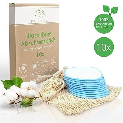 Purava - Almohadillas desmaquillantes lavables - 100% algodón orgánico - reutilizables