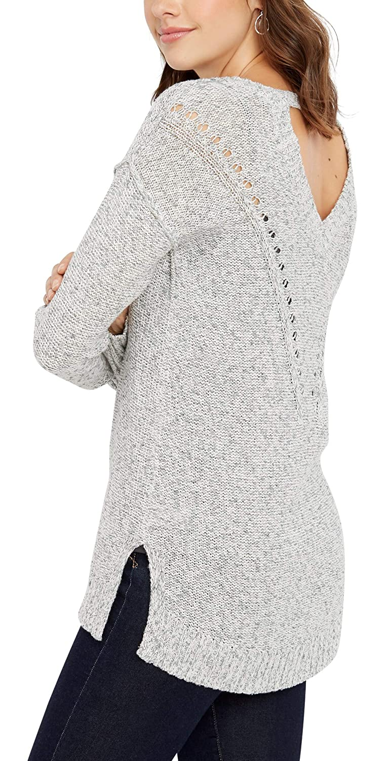 ce8ba7eaef maurices Open Back Tunic Sweater - Women s Gray Top with Bar Detail ...
