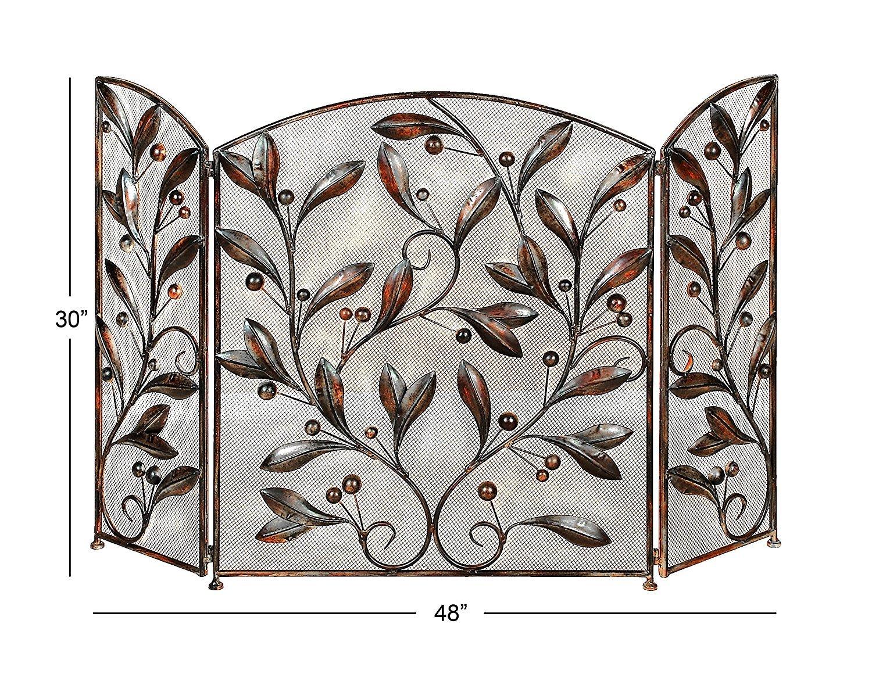 Benzara Leaves and Beads Design Metal Fire Screen, Bronze