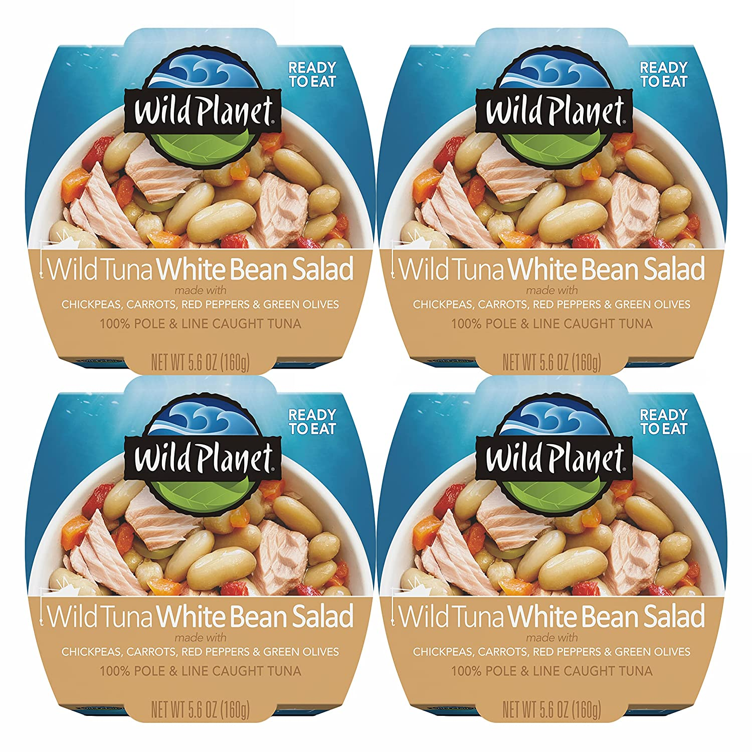 Wild Planet Ready-To-Eat Wild Tuna White Bean Salad With Organic Chickpeas, Carrots, Red Peppers & Green Olives, 5.6oz, (Pack Of 4), 4Count