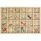 Valdler Sackcloth Stackable 24 Grid Jewelry Tray Showcase Display Organizer