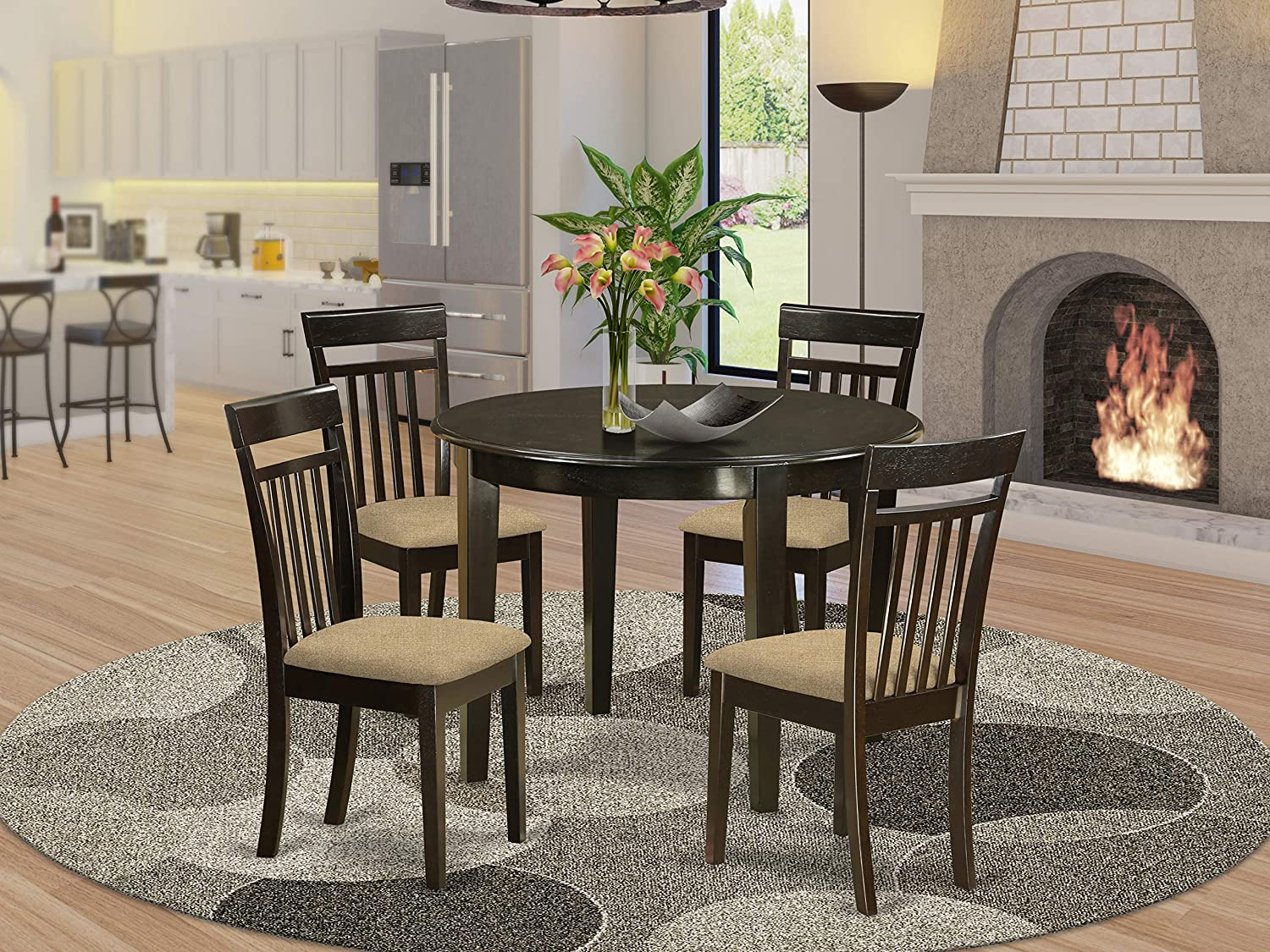East West Furniture BOCA5-CAP-C Round Dinette Set 5 Piece - Linen Fabric Kitchen Dining Chairs Seat - Cappuccino Finish Dining Room Table and Structure