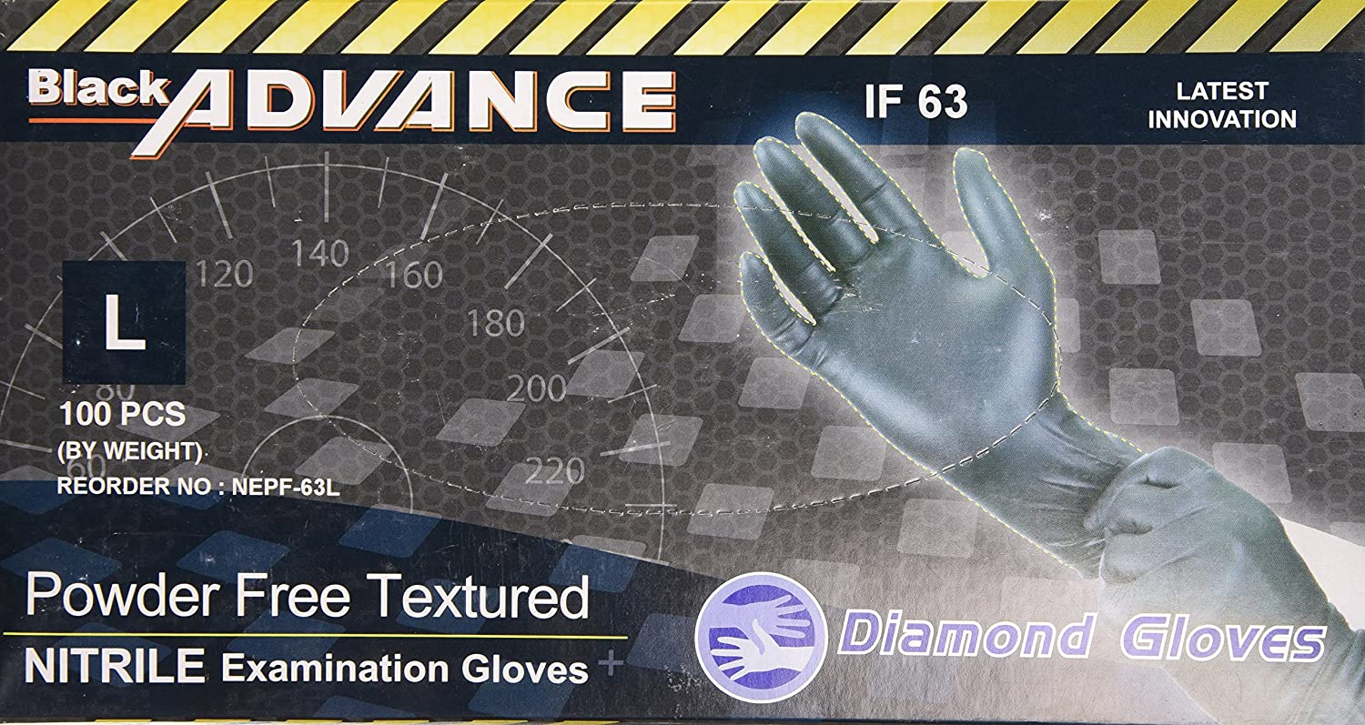 Diamond Gloves Black Advance Powder-Free Nitrile Examination Gloves, 6.3 Mil, Heavy Duty, Medical Grade, 100 Count XXL No Model