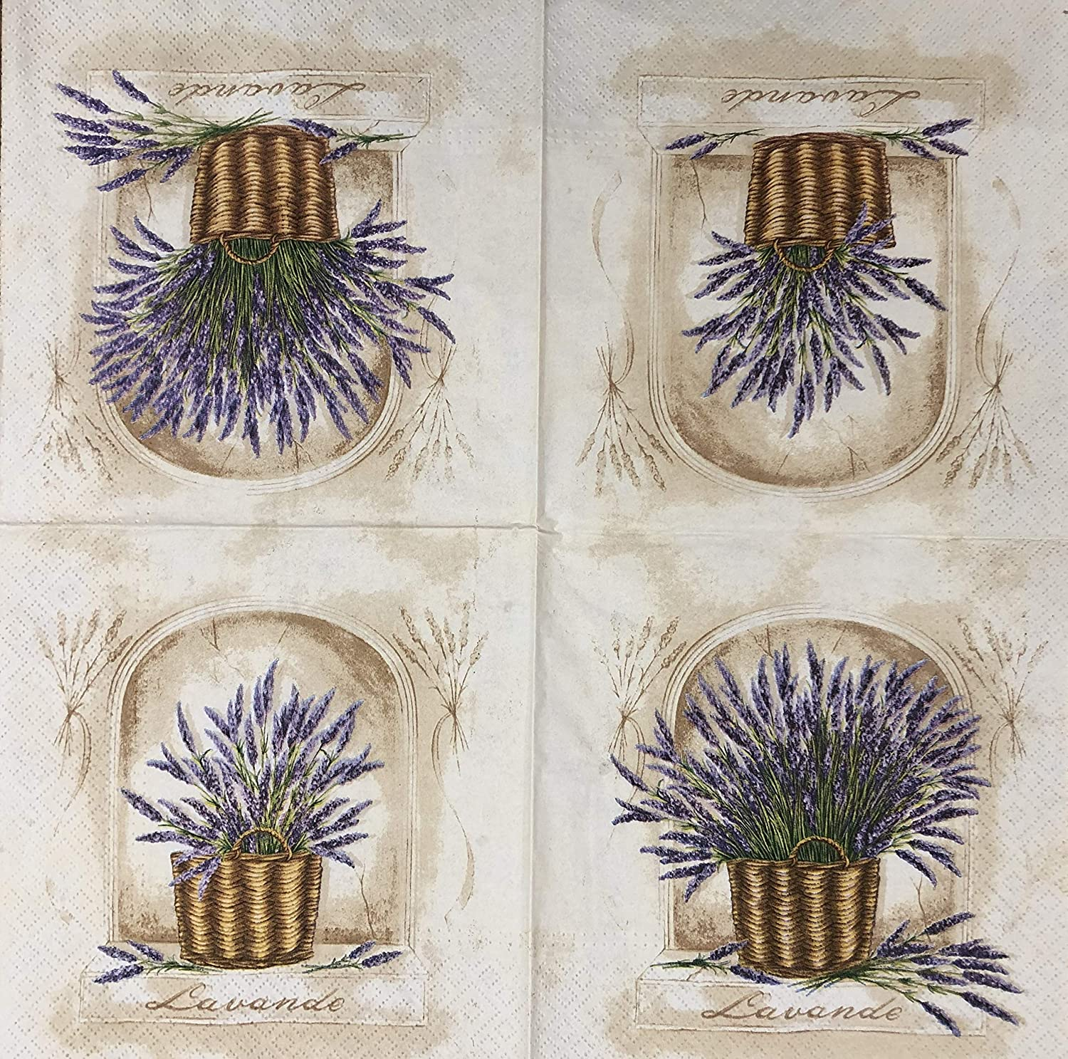 2 single Paper Napkins for DECOUPAGE Crafts Collection Party Lavender Plants Nature Spring Flowers Blossom Bucket Garden