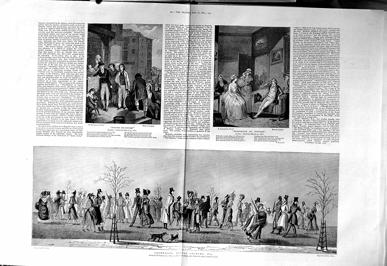 Amazon Old Print 1884 Winter Costumes Curate Children School Vicar 331TM130 Prints Posters