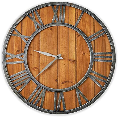 ModiVerza Large Wall Clock – Farmhouse – Natural Wood – Quartz Movement – Bronze Vintage Metal Numbers – Rustic Kitchen Decor – Battery Powered – Home Decor – 18 inch – Noiseless Wall Clock – Shiplap