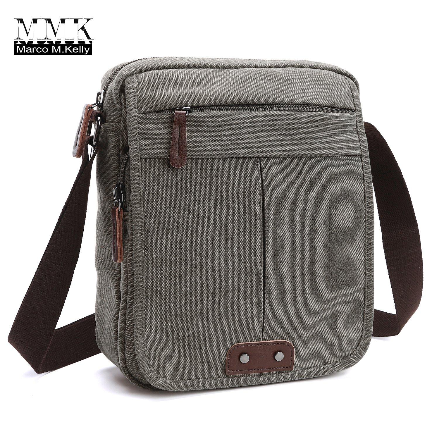 Canvas Leather Messenger Purse Shoulder Bag~Lightweight Crossbody Bag~Book bag ~Functional Multi Vintage Lightweight Casual Shoulder Bag Travel Organizer Bag Multi-pocket Working Bag 1988 Marco M.Kelly