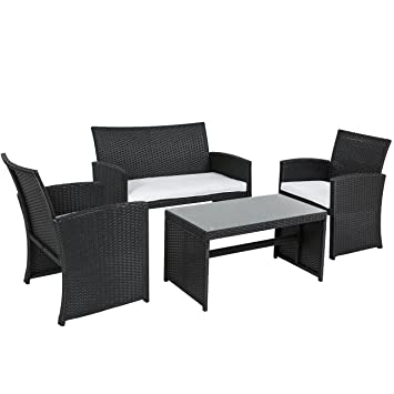 image black wicker outdoor furniture. best choice products outdoor garden patio 4pc cushioned seat black wicker sofa furniture set image k