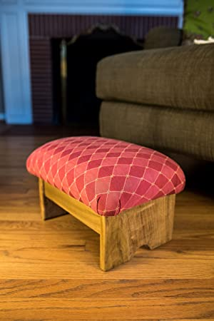 KR Ideas Padded Foot Stool Rococo Red 9 Luxury Fabrics Made in the USA Rococo Red- Maple Stain