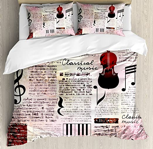 Ambesonne Old Newspaper Duvet Cover Set Decorative 3 Piece Bedding Set with 2 Pillow Shams Pink Black King Size Classical Music Theme Instruments Piano Violin Notes Art