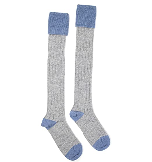 0698d70dd14 Graham Cashmere - Luxury Cashmere Long Boot Socks - Made in Scotland -  Light Grey(