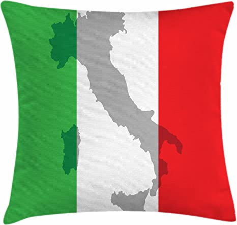 Amazon Com Lunarable Italian Flag Throw Pillow Cushion Cover Map View Of Italy Land Chart National Country Europe Culture Decorative Square Accent Pillow Case 18 X 18 Fern Green Home Kitchen