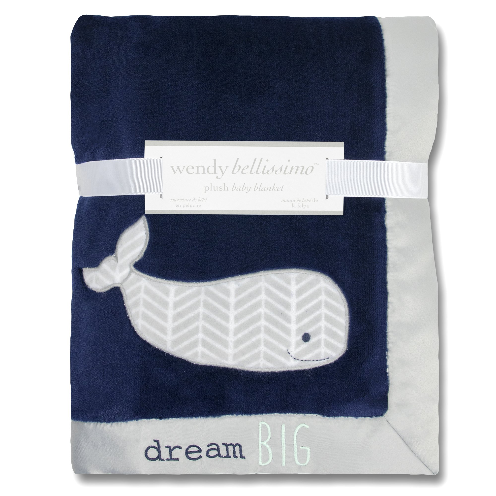 Wendy Bellissimo Super Soft Plush Baby Blanket - Whale Baby Blanket from the Landon Collection in