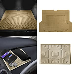FH Group F16406 Premium Trimmable Rubber Cargo Mat w. FH3011 Silicone Anti-Slip Dash Mat, Tan Color- Fit Most Car, Truck, SUV, or Van