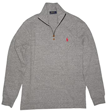 f51d4e6a54a03 Ralph Lauren Polo Mens Quarter Zip Pullover Sweater Canterbury Heather Grey  (Small)