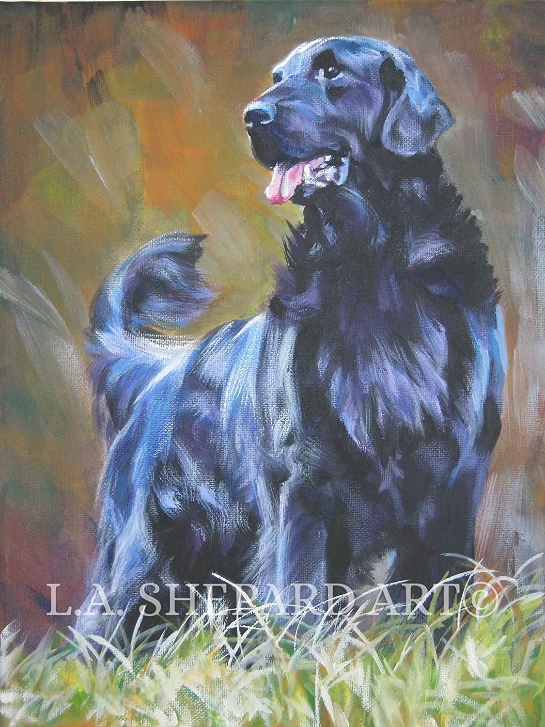 Flat-Coated Retriever Dog Original Art Print 8x10 Matted to 11x14