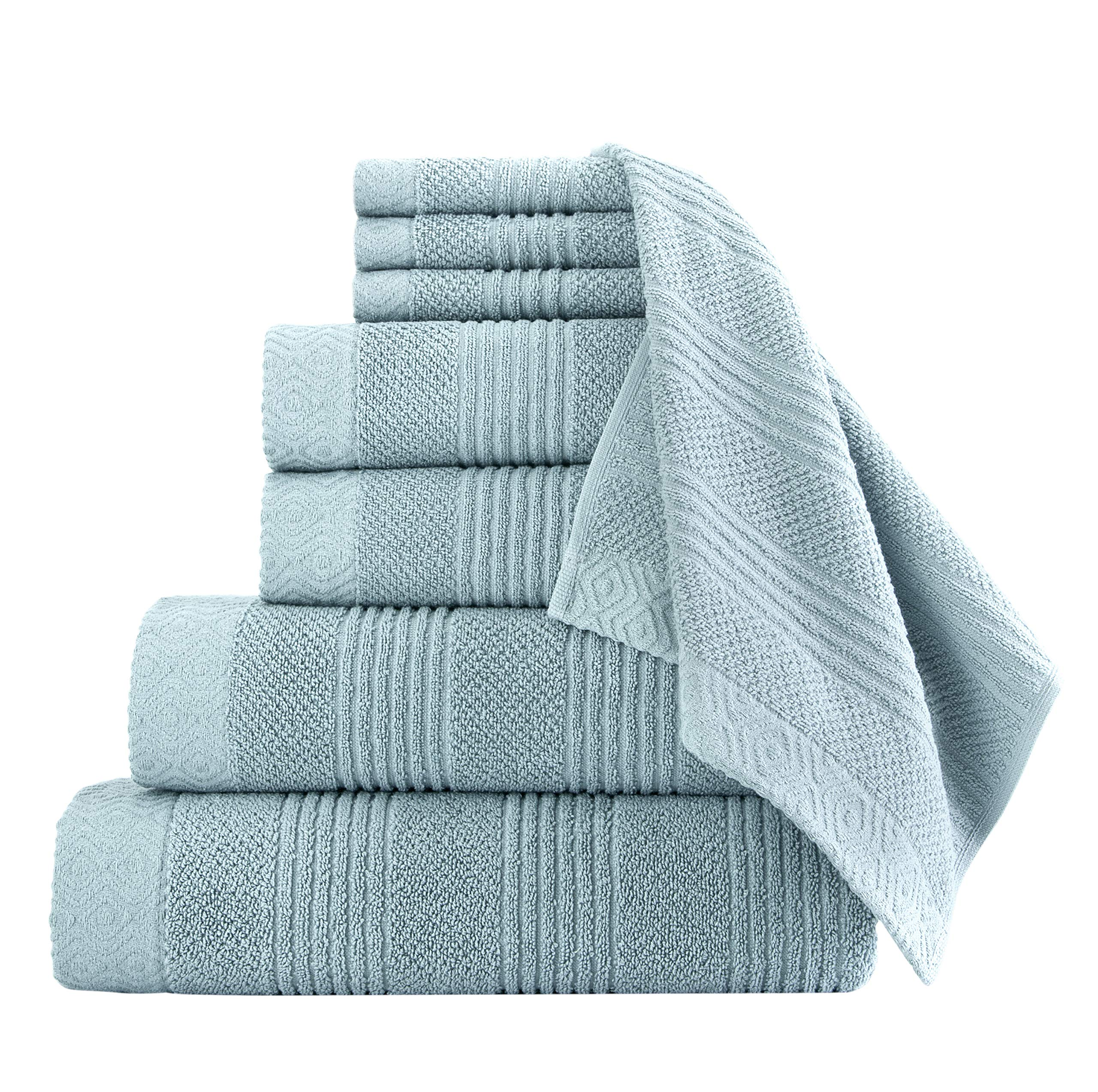 Classic Turkish Towels Luxury Bath Towel Set - Complete Bathroom Set with Large Bath Sheet Included - Made with 100% Turkish Cotton (Seagrass, 8 Piece Set)