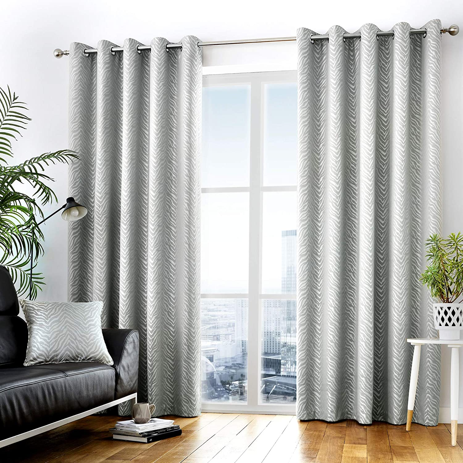 Curtina Africa Ready Made Lined Eyelet Curtains 66 Width X