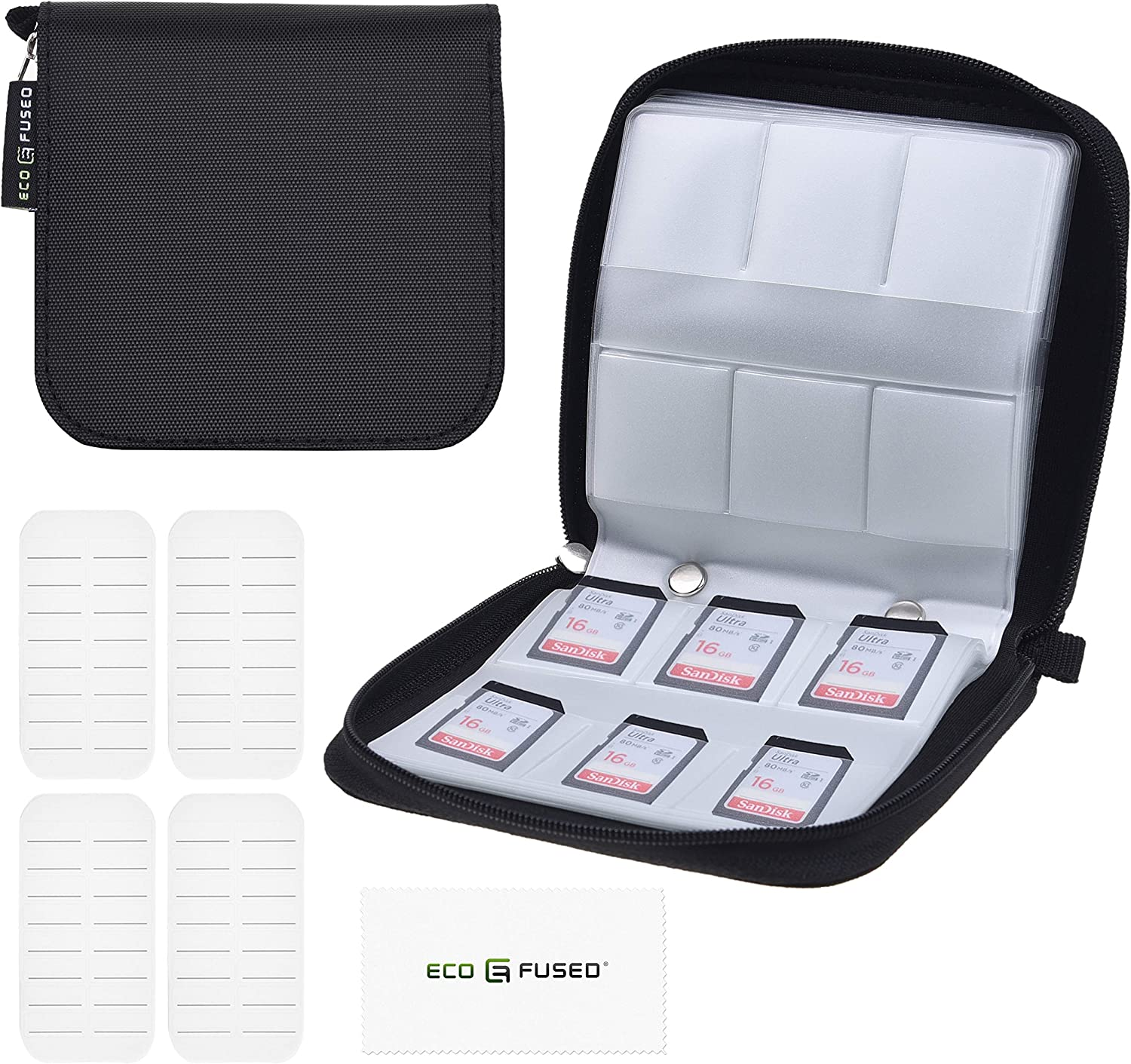 Memory Card Case - Fits up to 22x SD, SDHC, Micro SD, Mini SD and 4X CF - Holder with 22 Slots (8 Pages) - for Storage and Travel