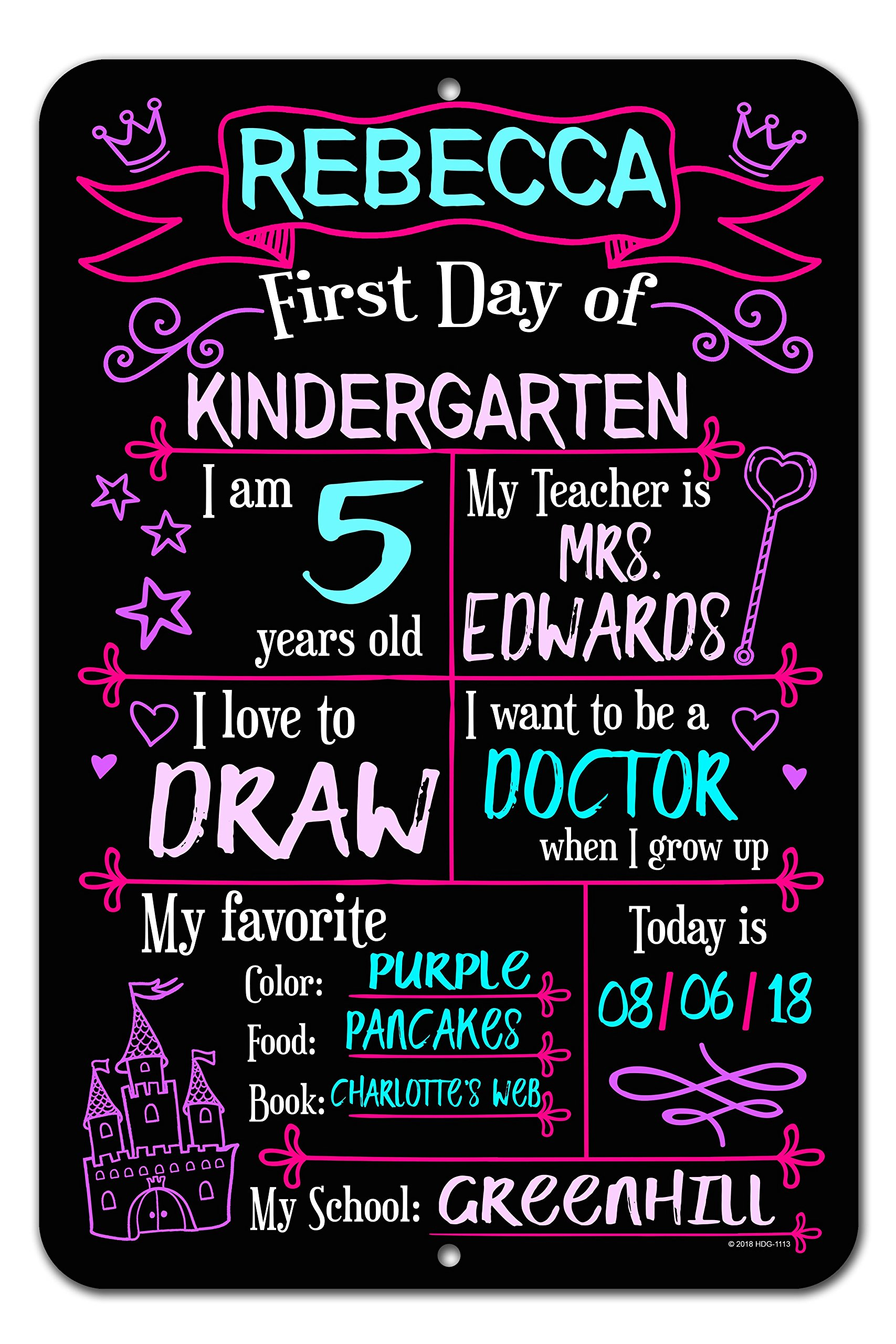 Honey Dew Gifts Large First Day School Princess Chalkboard Style Photo Prop Metal Sign 12 x 18 inch - Reusable Easy Clean Back to School, Customizable Liquid Chalk Markers (Not Included) by Honey Dew Gifts