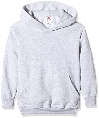 95205ad634 Fruit of the Loom Unisex Kids Pull-over Classic Hooded Sweat, Heather Grey,