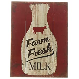 "Barnyard Designs Farm Fresh Milk Retro Vintage Wood Plaque Bar Sign Country Home Decor 15.75"" x 11.75"""