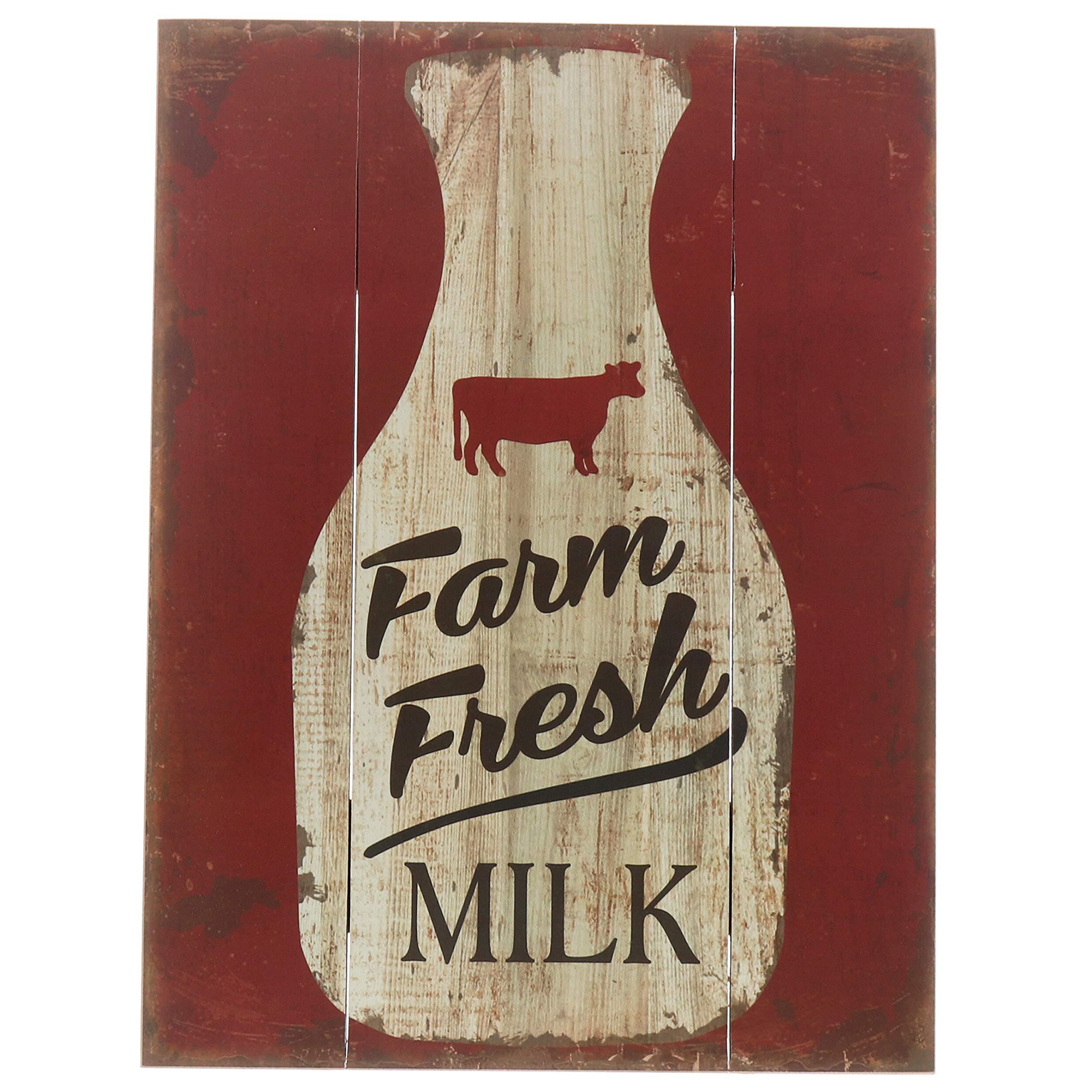 Barnyard Designs Farm Fresh Milk Retro Vintage Wood Plaque Bar Sign Country Home Decor 15.75'' x 11.75''