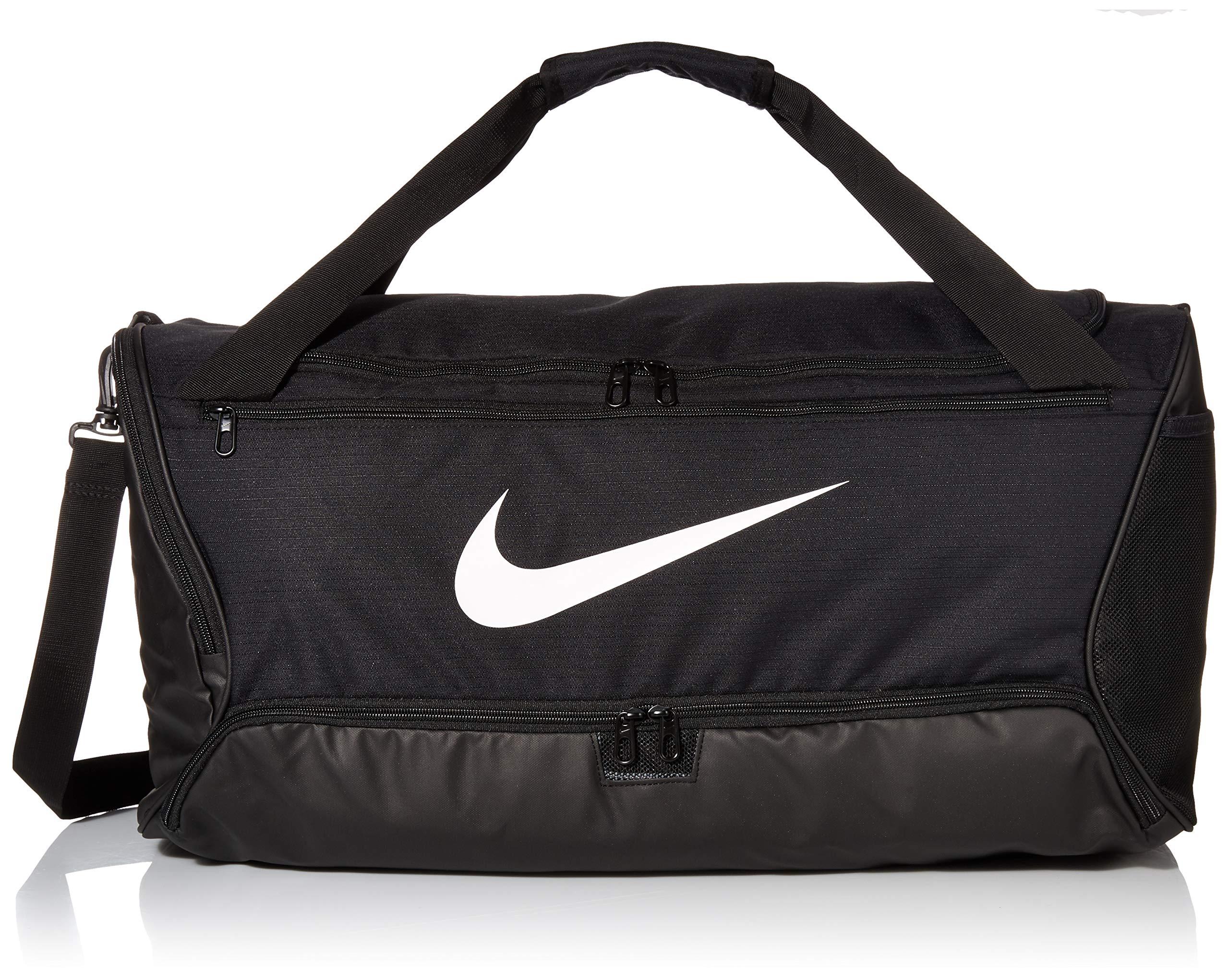 Nike Brasilia Training Medium Duffle Bag, Durable Nike Duffle Bag for Women & Men with Adjustable Strap, Black/Black/White by Nike