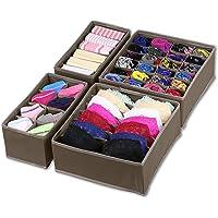 SimpleHouseware Closet Underwear Organizer Drawer Divider Set of 4, Brown