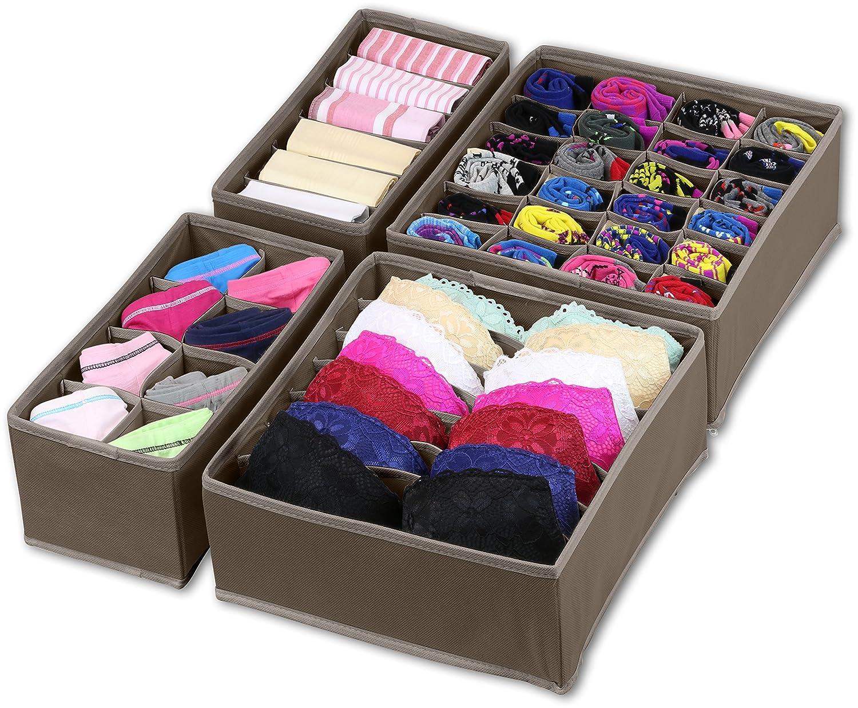 Simple Houseware Closet Underwear Organizer Drawer Divider 4 Set, Brown BO-006-2