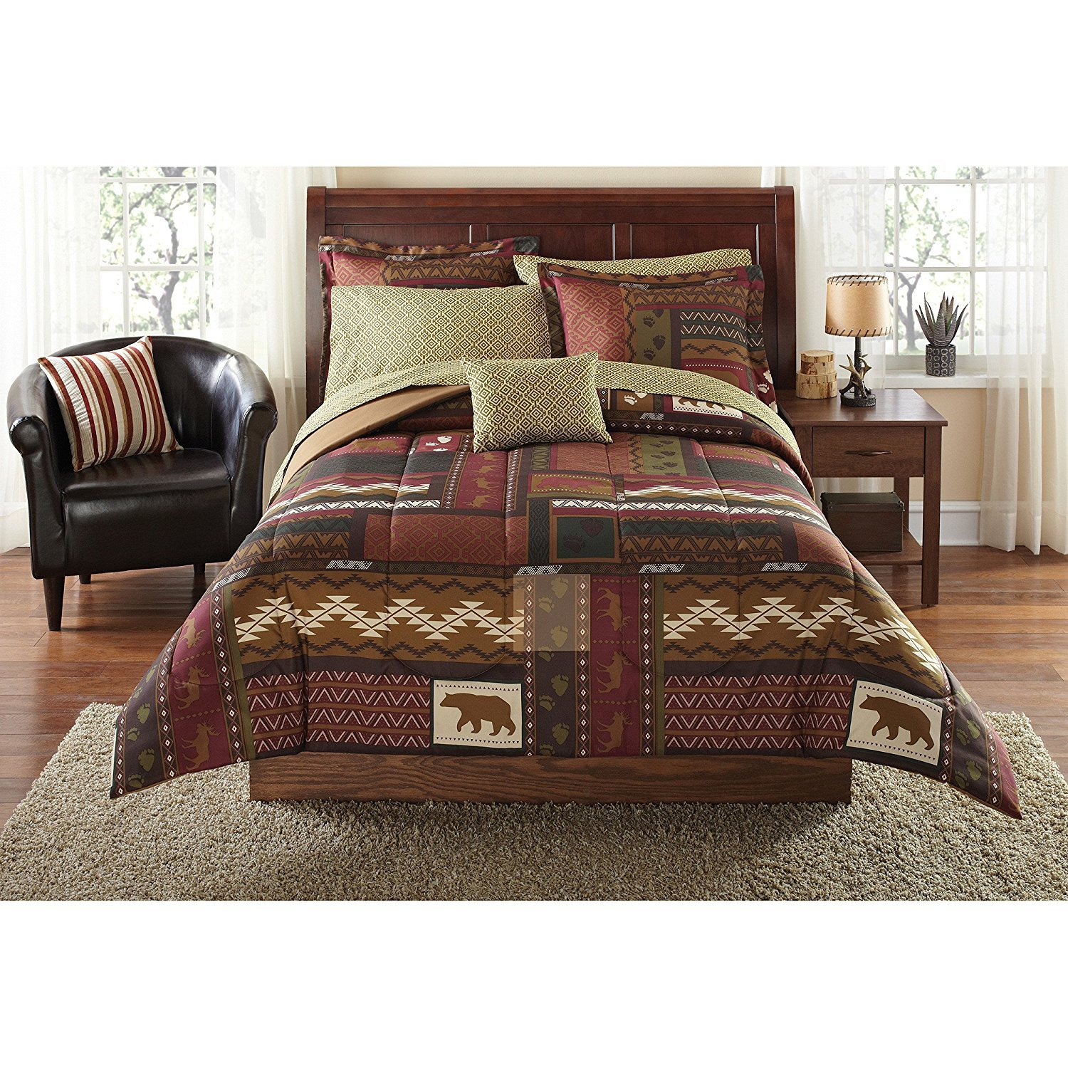 MS 8pc Color Patchwork Geometric Moose Printed Comforter Set Twin/Twin XL, Dark Brown Golden Woods Rustic Lodge Cabin Animal Wildlife Bear Footprint Features Kids Bedding Teen Bedroom Polyester
