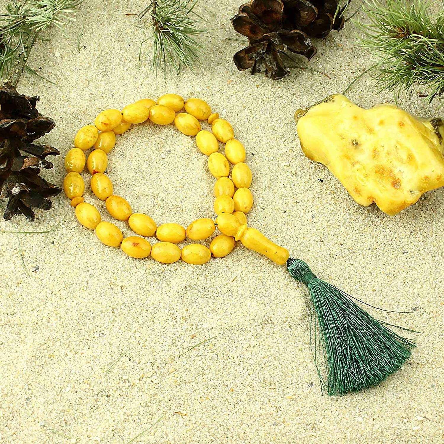 Tasbih 15 GRAMS//New//Lemon with Inclusions Muslim Islamic Rosary 33 Olive Prayer Beads by Baltic Amber Handmade//Genuine Natural Baltic Amber // 8 x 11 mm Authenticity Golden Yellow//Misbaha