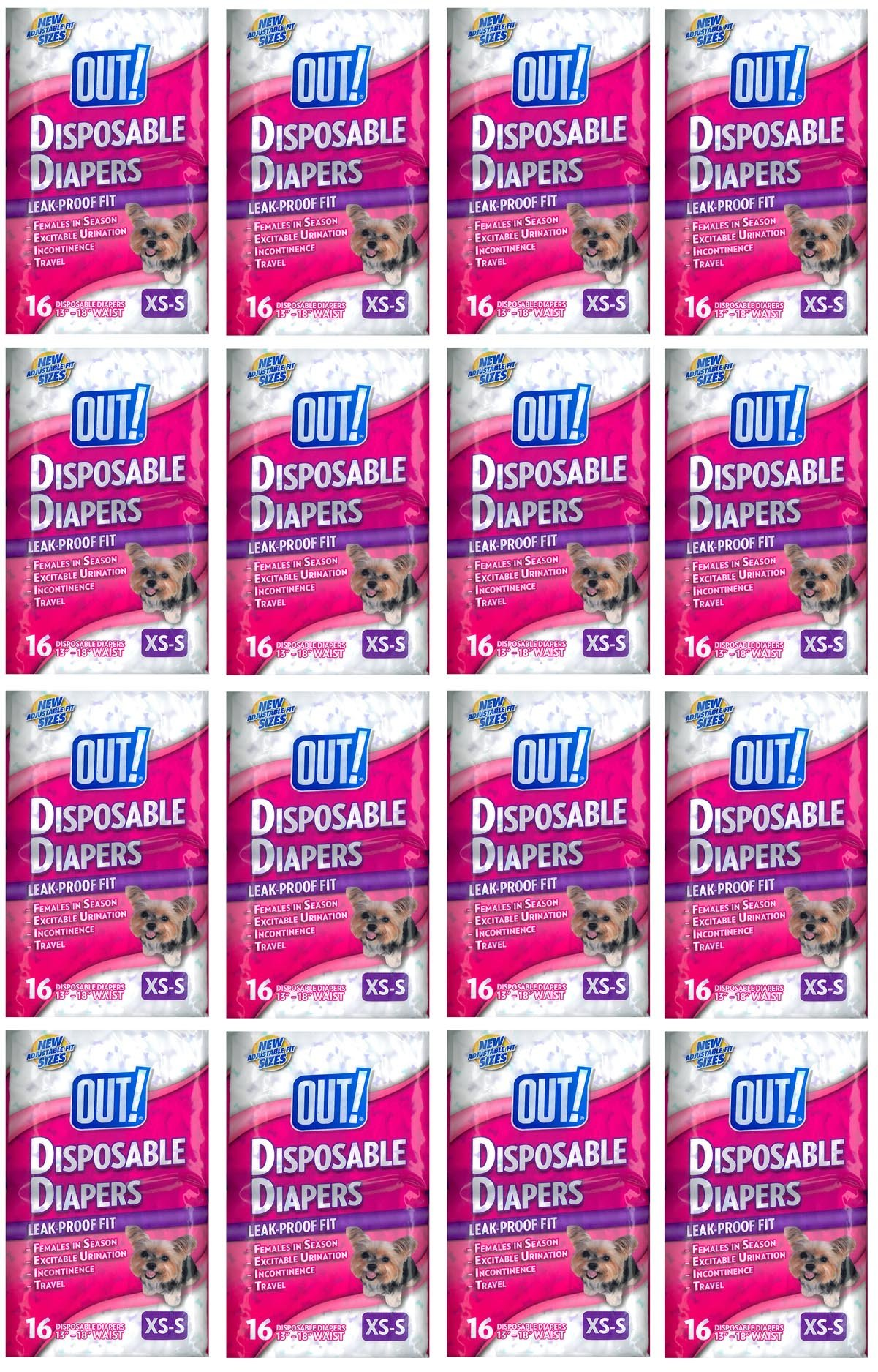 OUT! Small Disposable Fashion Diapers 256ct (16 x 16ct)