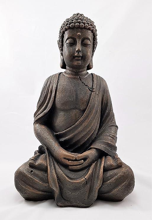 Adorno de jardín grande, 39 cm, diseño de Buda tailandés sentado con efecto piedra, para exterior e interior: Amazon.es: Jardín