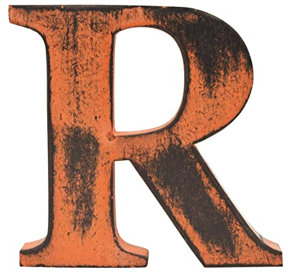 Letter O Holic Shabby Chic Vintage Large 11 Cm Wooden With Standing A To Z Alphabet Letters Orange Letter R