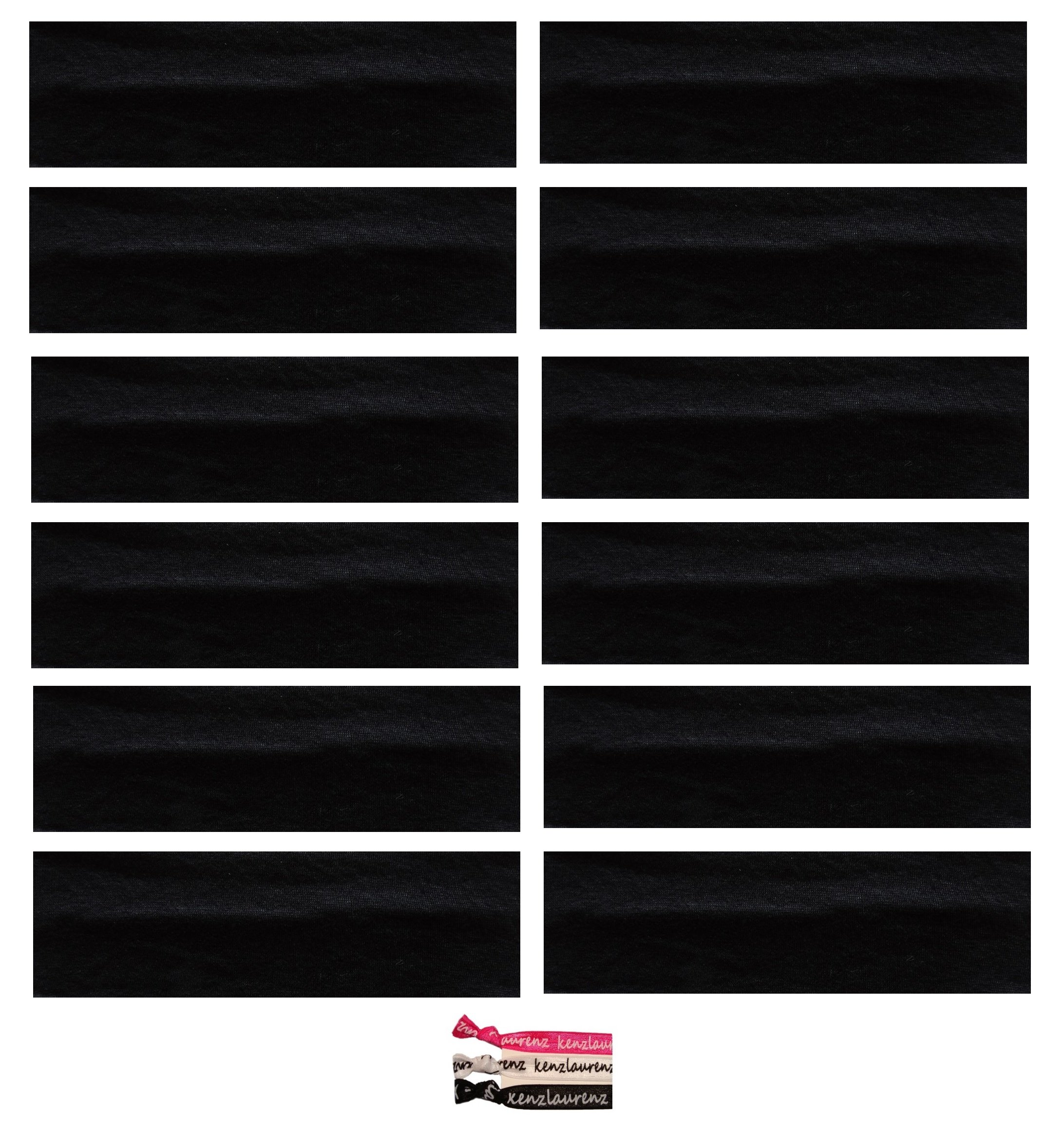 Kenz Laurenz Soft and Stretchy Elastic Cotton Headbands, (Pack of 12) - Black by Kenz Laurenz