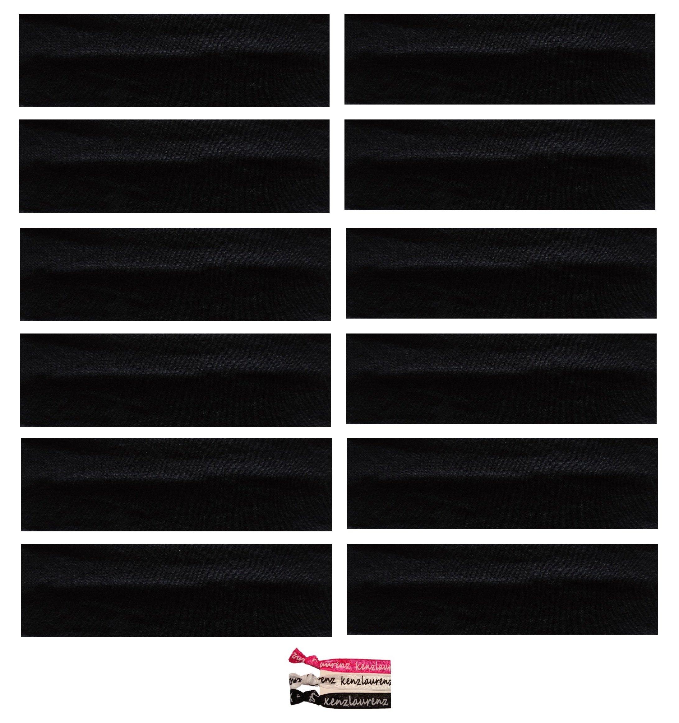 Kenz Laurenz Soft and Stretchy Elastic Cotton Headbands, (Pack of 12) - Black