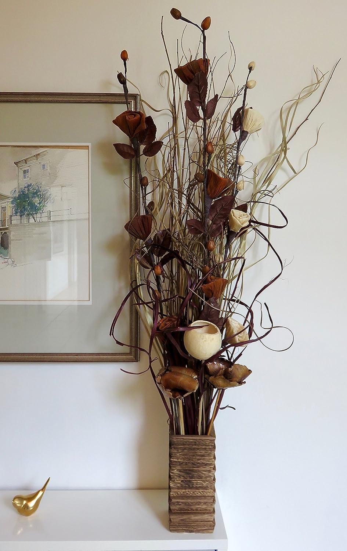 Altezza 85 cm. colore naturale e cioccolato essiccati Fiori biologici indiani esotici Vaso in legno GRATUITO fatti a mano