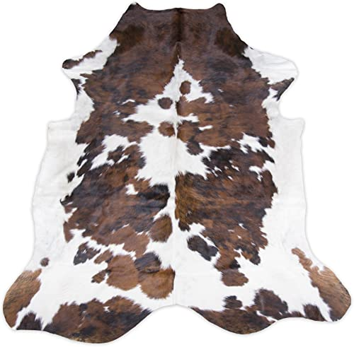 original cowhide Rug Genius Leather Hair on Hides Decorative Value Rare Giant Size Approx 7X8 ft 56-66 sqf Tircolor