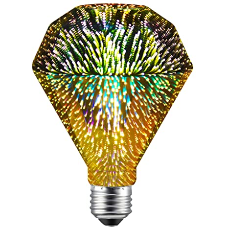 CanYa Diamond Shape Filament Fireworks Light Bulb Colorful RGB 3D Light Bulb Decorative LED Bulb Lamp D95 Pack of 1 for Party bar Decoration - - Amazon.com