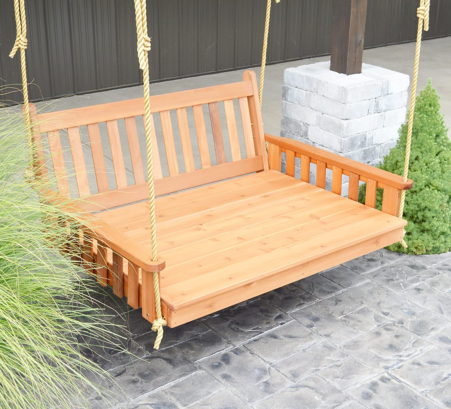 Aspen Tree Interiors Best Porch Swing Bed Outdoor Swinging Daybed Patio Day Bed Swings Hanging 3 Person Bench Unique Western Red Cedar Outside Furniture Decor Traditional 5 Ft Cedar Amazon Ca Patio Lawn